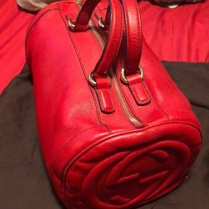 Red Gucci hobo top handle bag